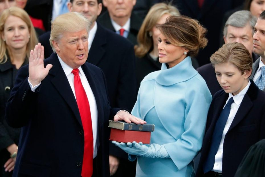 Donald Trump Swearing on the same bible his mother gave himand the same one sued in the church incident.